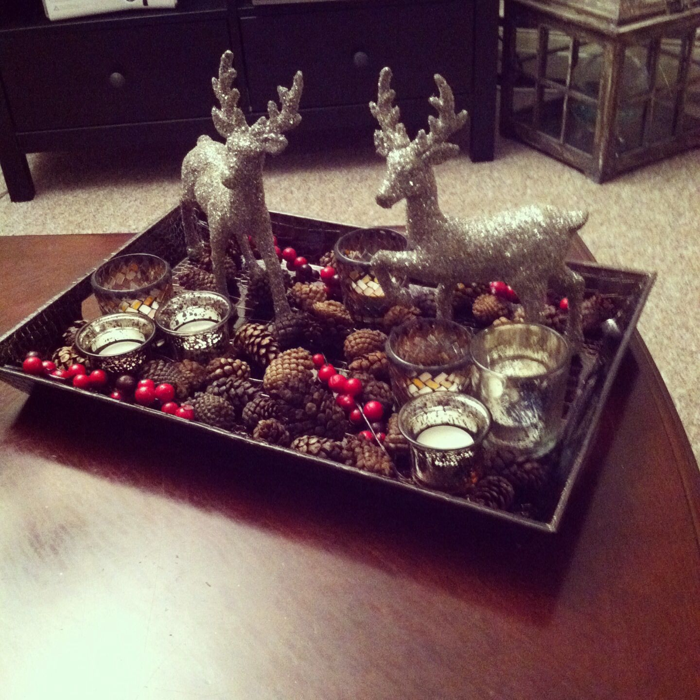 Christmas Coffee Table Decoration If Only I Didn T Have A Toddler Mischievous Dogs Christmas Coffee Table Decor Christmas Tray Christmas Table Decorations