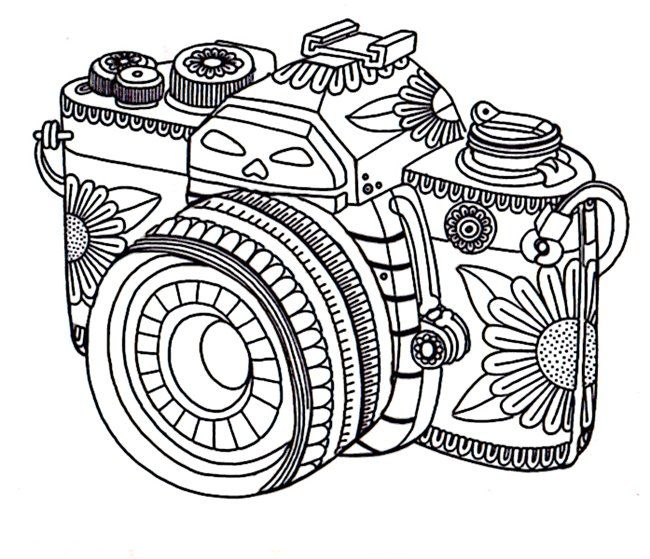 camera coloring pages 50 Printable Adult Coloring Pages That Will Make You Feel Like a  camera coloring pages