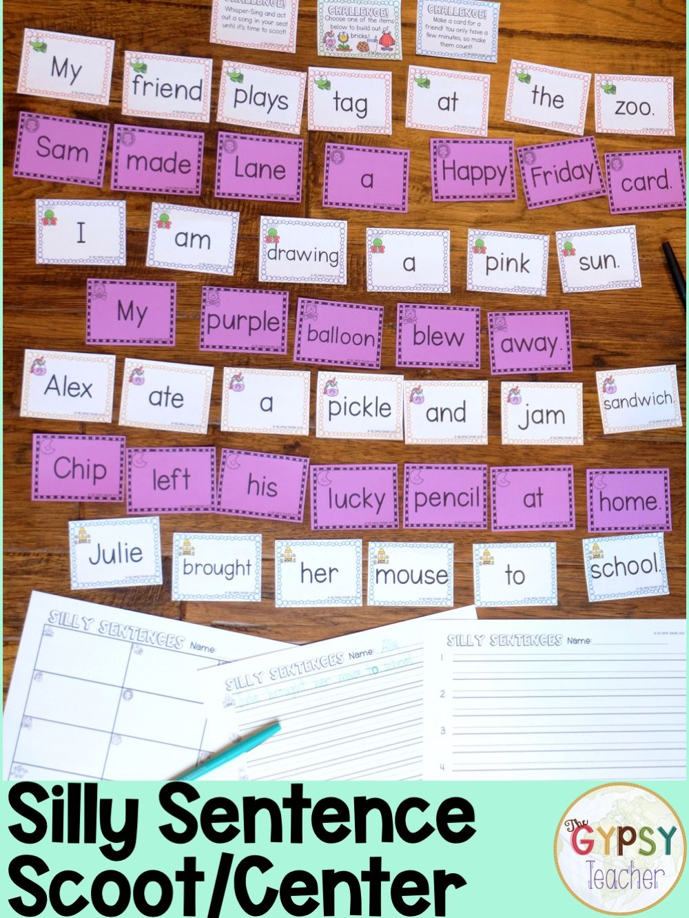 Silly Sentence Scoot Writing Complete Sentences Writing Center