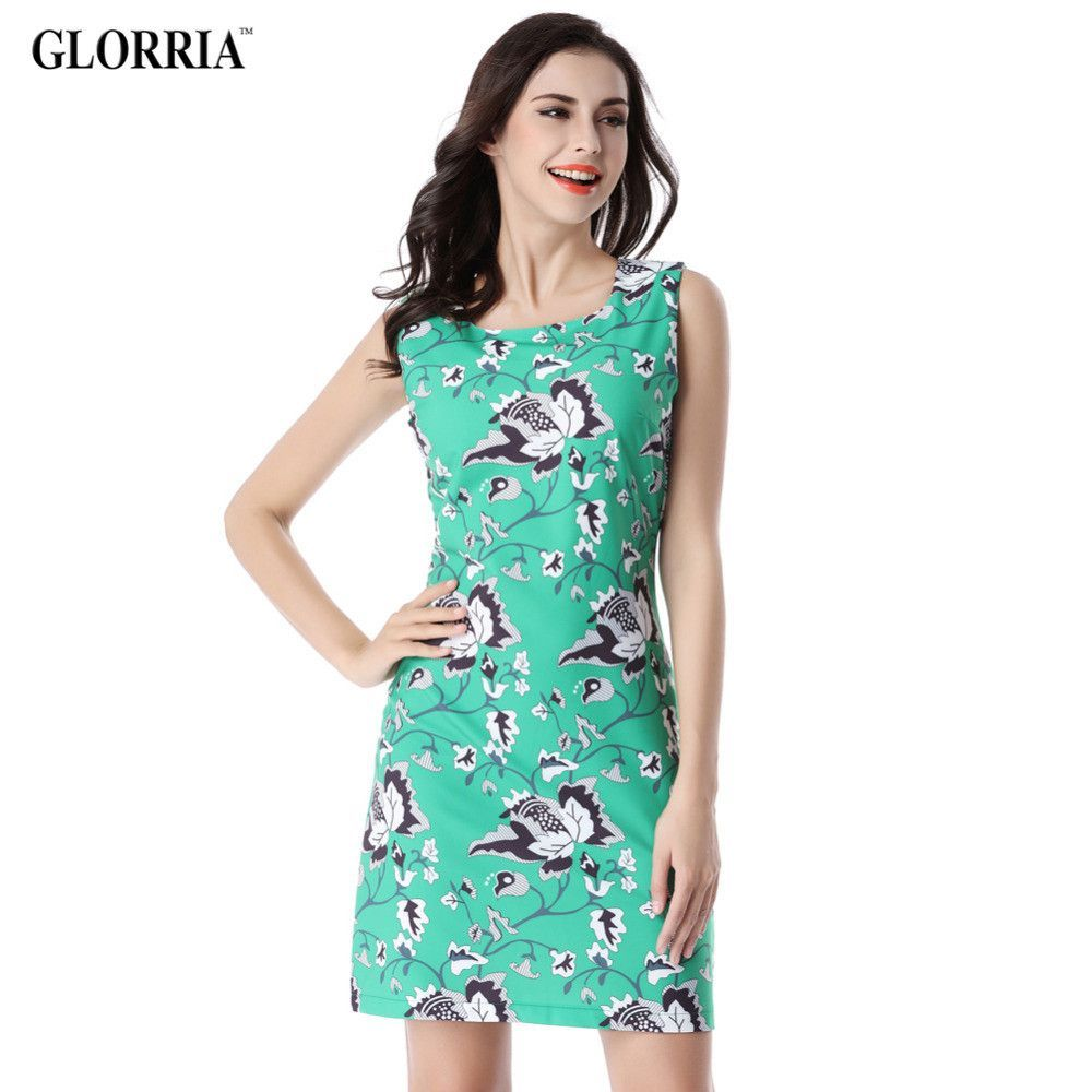 Women Elegant Print O-Neck Sleeveless Dress Summer Casual Fashion ...