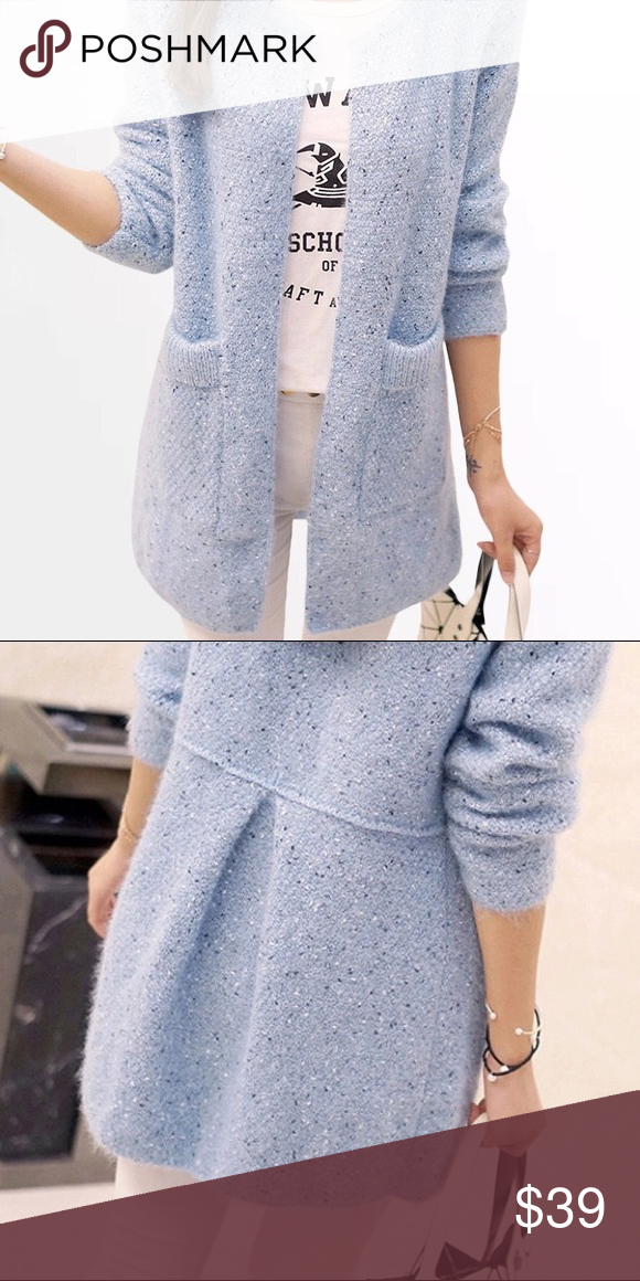 ✨Powder Blue Soft Knit Long Sleeved Cardigan✨ Boutique | Sweater ...