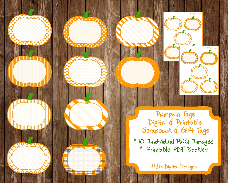 Patterned Pumpkins Digital and Printable Tags Labels Stickers Thanksgiving Pumpkin Patch Scrapbook Tags Labels Elements Embellishements by MandMDigitalDesigns, $4.00 USD