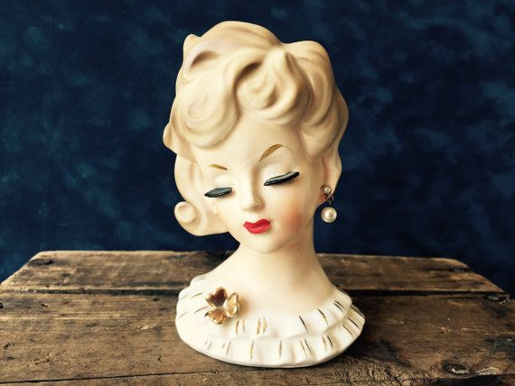 Napco Lady Head Vase Planter Vintage Pottery Lady Head Retro
