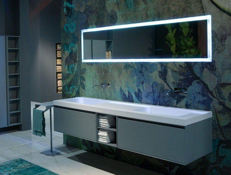 Badspiegel mit LED-Beleuchtung und Doppelwaschbecken Bad - badezimmerspiegel mit led