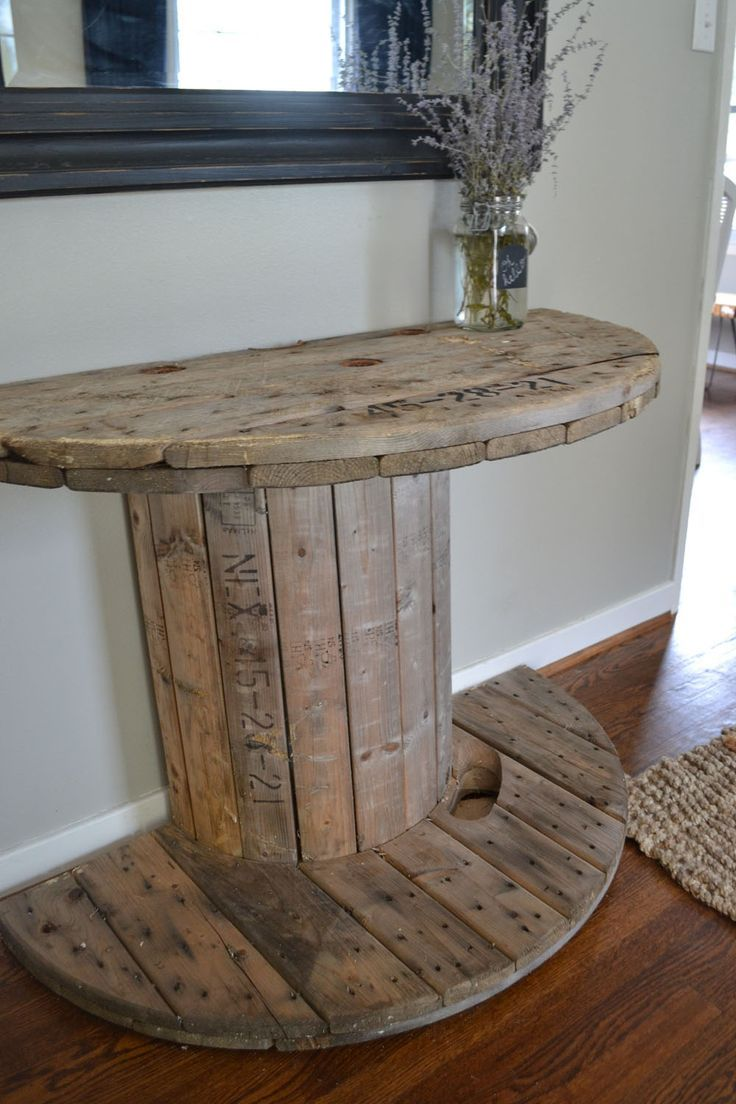Living room decor rustic farmhouse style diy rustic spool half round console table living - Half table entryway ...