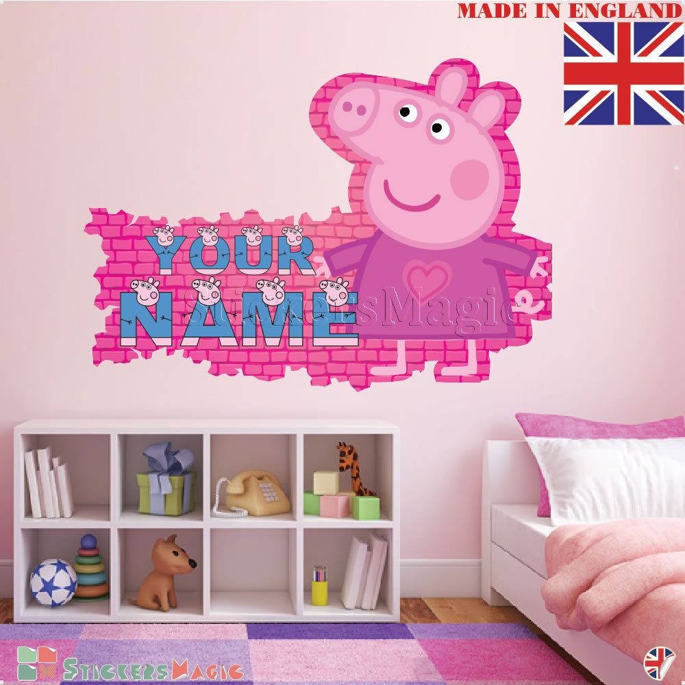 Peppa Pig Name Wall Stickers for Nursery,Personalised Name