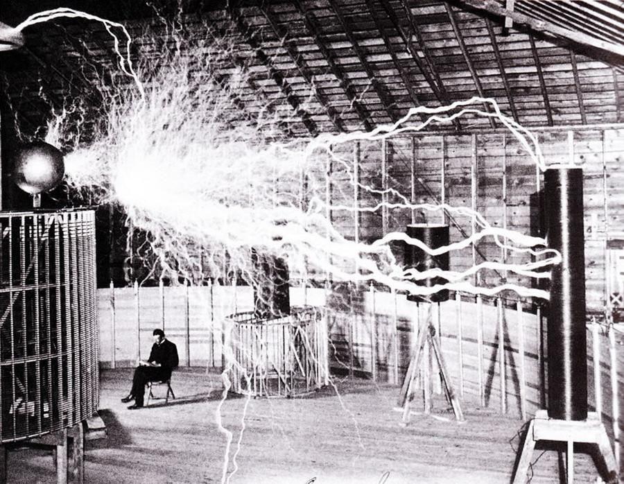 Double exposure of Nikola Teslas Lab in 1901