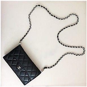 6366fa4da4be Chanel Classic Flap Wallet with Chain Added Black Lambskin Leather Clutch.  Get the trendiest Clutch of the season! The Chanel Classic Flap Wallet with  Chain ...
