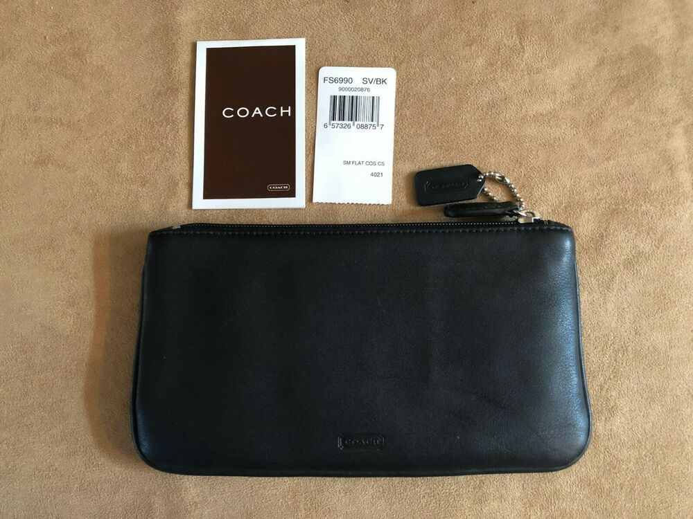 COACH black leather cosmetic makeup slim bag pouch with