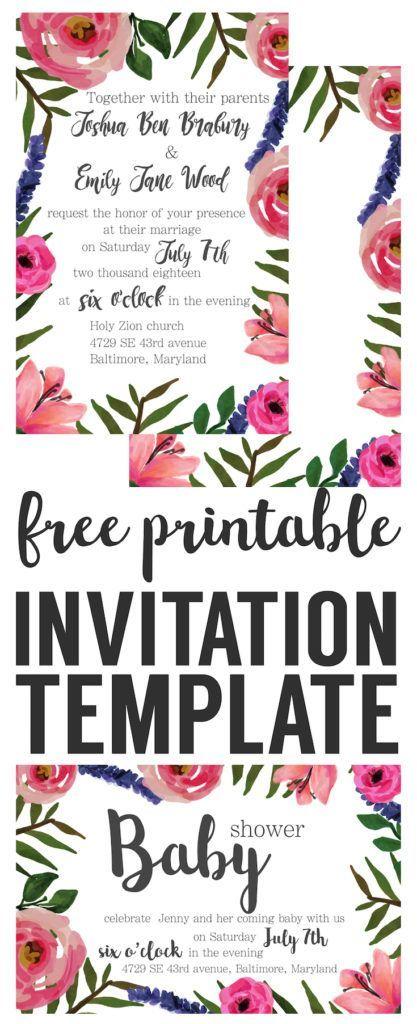Floral Invitation { Free Printable Invitation Templates Pinterest - retirement invitation templates free printable