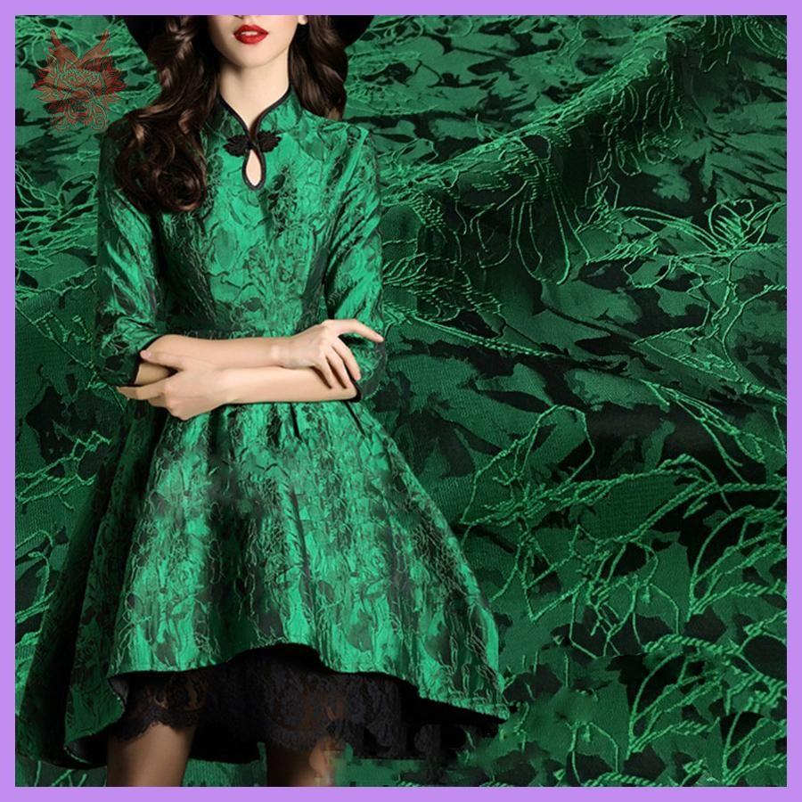 Designer luxury green floral jacquard brocade fabric for dress coat
