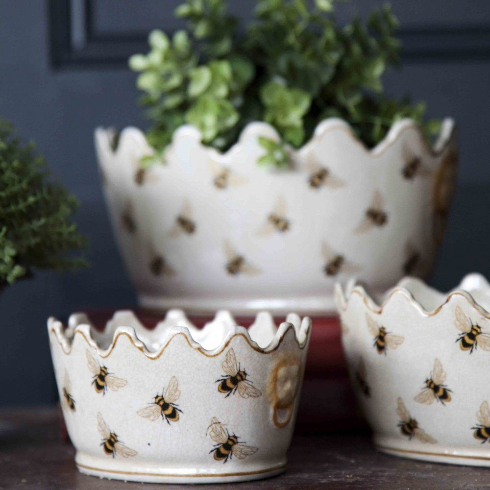 India Jane Honey Bee Crown Planters Set Of Three