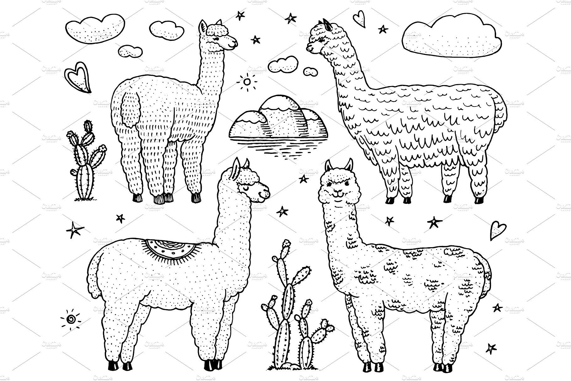 Set Of Cute Alpaca Llamas Or Wild Guanaco On The Background Of Cactus And Mountain Funny Smiling Animals In Peru For Cards Posters Invitations T Shirts Han Cute Alpaca Alpaca Drawing How