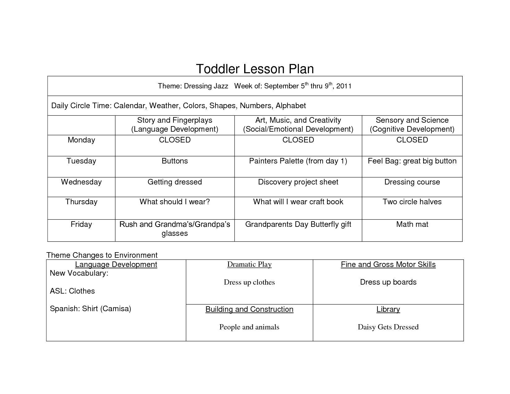 Preschool Curriculum Themes | Sample Of Creative Curriculum Lesson Plans  For Infants Toddlers And ..