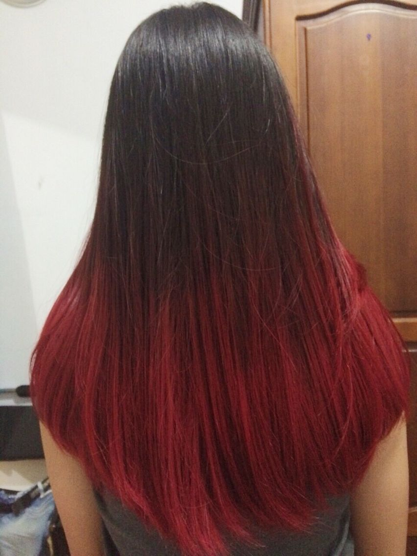 Jennifer Wizzar Pink Red Ombre Straight Long Hair Black Hair Ombre Hair Dye Tips Hair Color Red Ombre