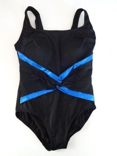 Womens-Longitude-Black-Blue-Swimsuit-Size-12-NWOT-NEW-One-Piece-Suit-Flattering