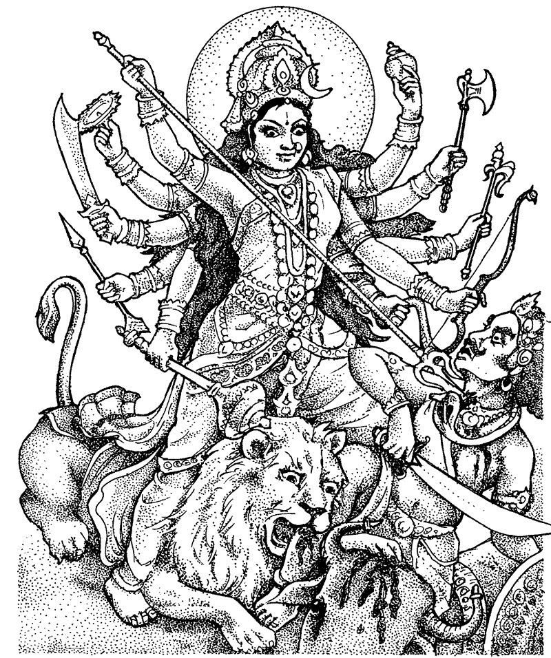 Line Art Hindu Gods : Coloring goddess durga pages