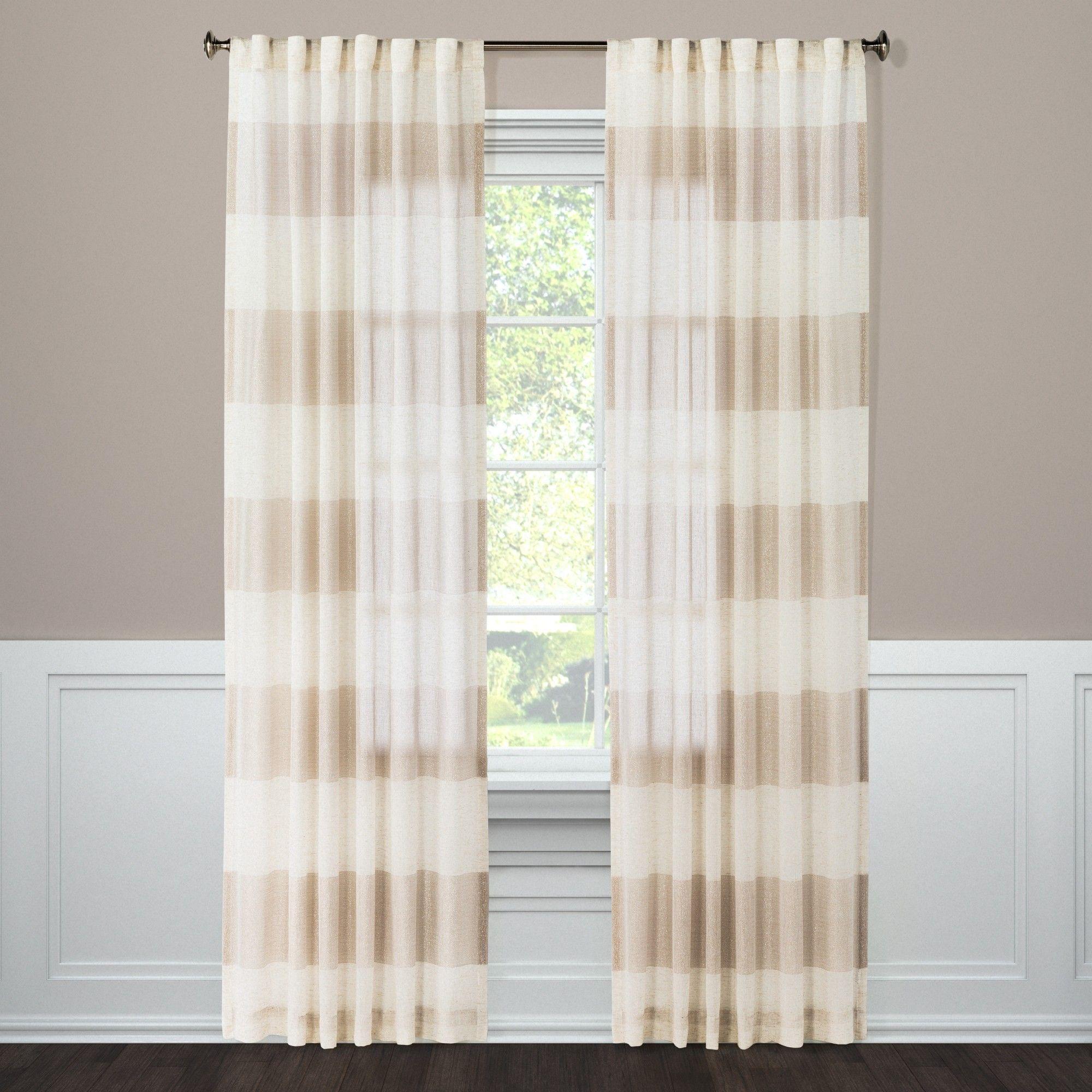 Metallic Rugy Stripe Sheer Curtain Panel Rose Gold (54\