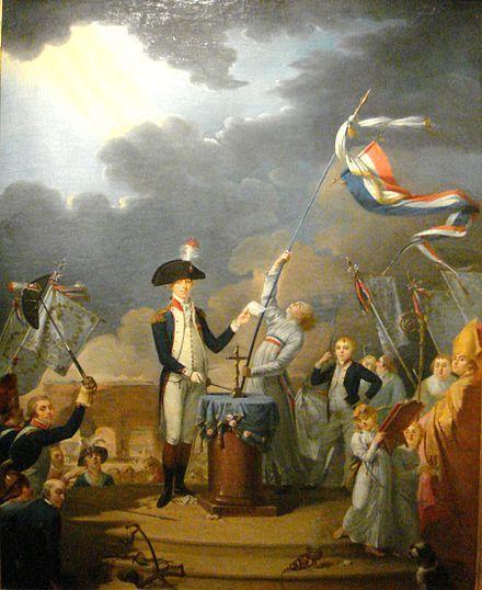 Peinture représentant une foule entourant deux personnages au centre - Poser Papier A Peindre