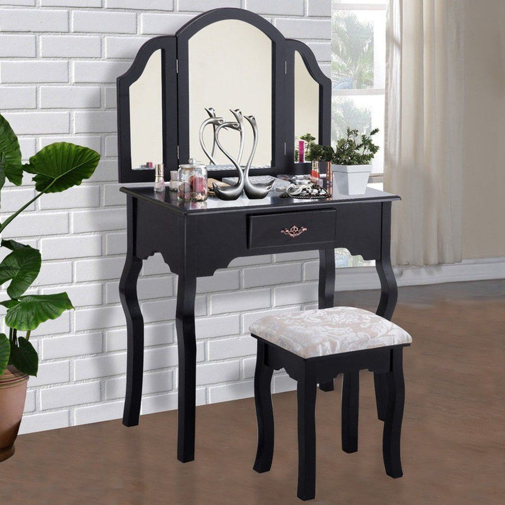 Vanity table set makeup dressing table cushioned stool mirror wood