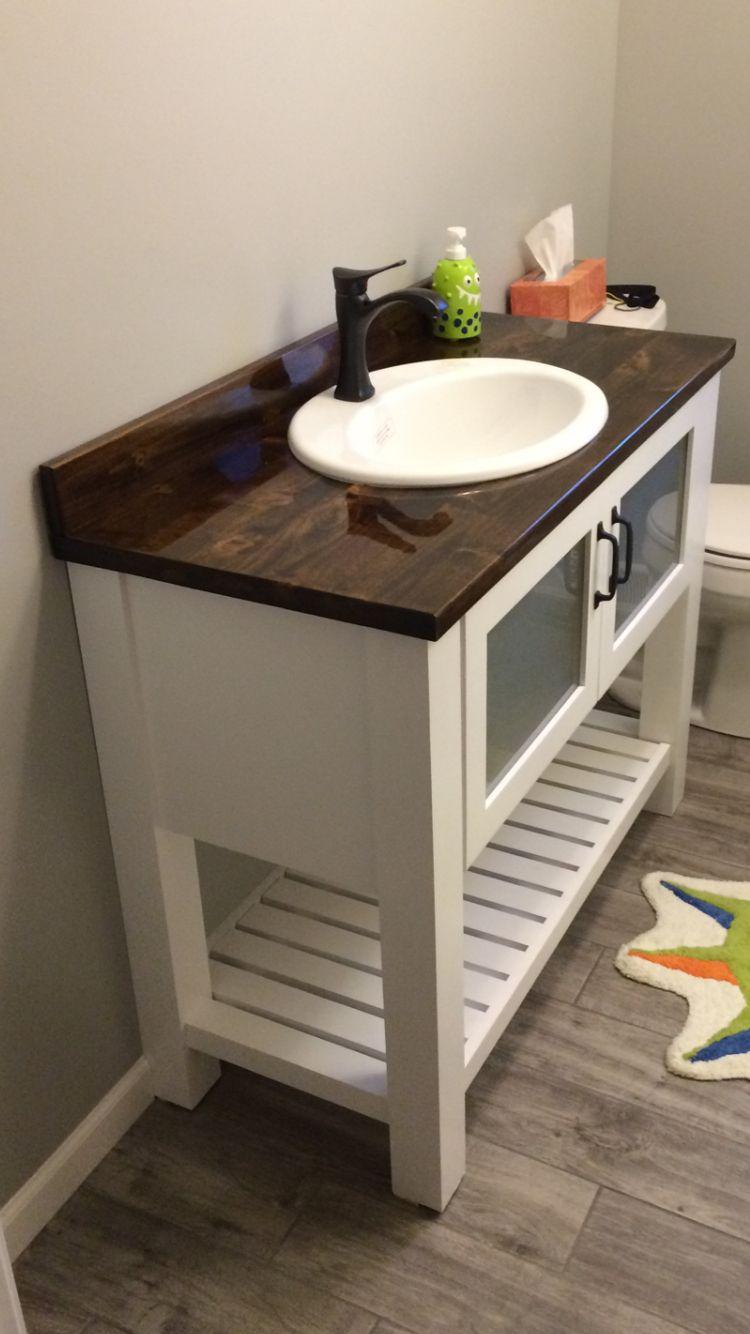 Kid Friendly Vanity Bath Cabinet The Bottom Slatted Shelf Slides