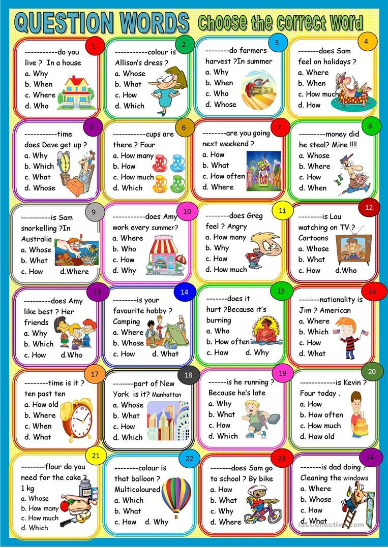 Question Words Multiple Choice Activity Worksheet Free Esl