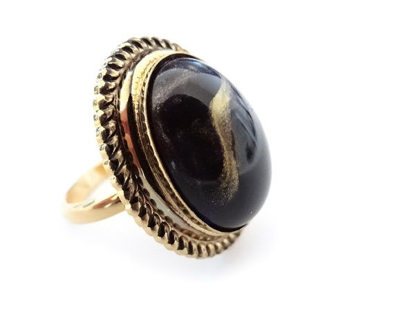 Black gold ring Adjustable black marble gold tone by Meliorey, $14.00