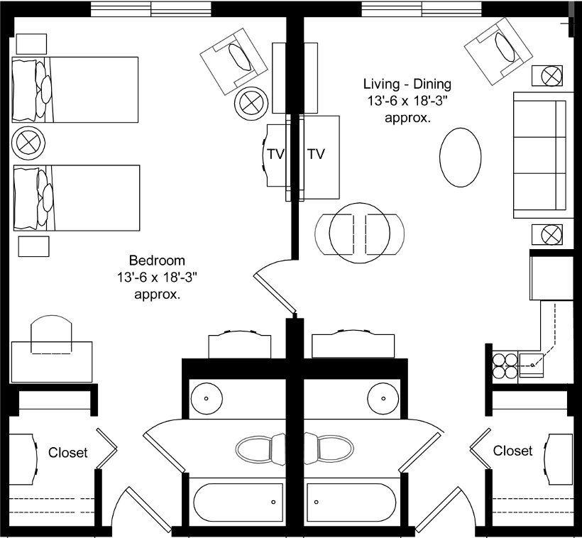 two bedroom studio apartment floor plans - Google Search  Looks like