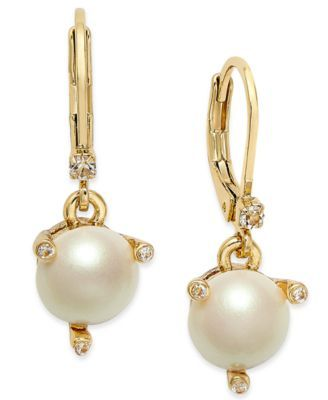 7a99d6740 kate spade new york Gold-Tone Imitation Pearl Drop Earrings | macys.com