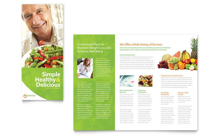 Nutritionist U0026 Dietitian Tri Fold Brochure   Word Template U0026 Publisher  Template  Microsoft Word Tri Fold Brochure