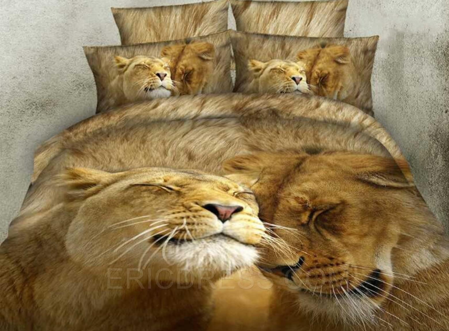 affecting lion couples' life print 4-piece cotton 3d bedding sets