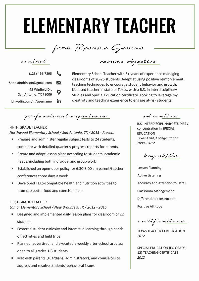 Elementary Teacher Resume Template Beautiful Elementary Teacher Resume Samples Writing Teacher Resume Template Free Teaching Resume Teaching Resume Examples