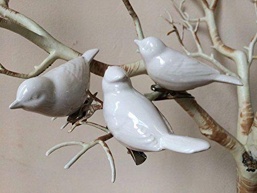 Set of 3 white ceramic clip on bird ornaments love dove vintage set of 3 white ceramic clip on bird ornaments love dove vintage wedding table decoration junglespirit Choice Image