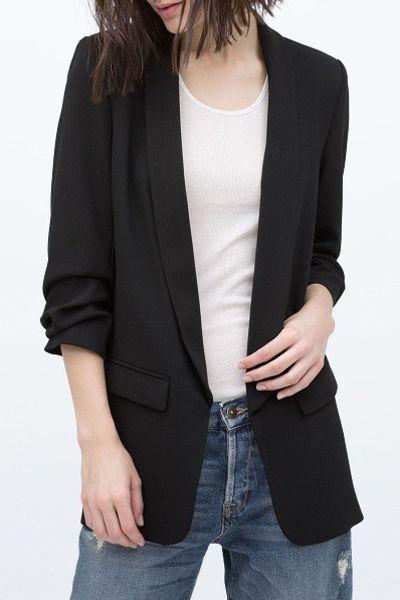 27e955e7f zaful: Shawl Collar Solid Color Ruffle 3/4 Sleeve Blazer | | Fashion ...