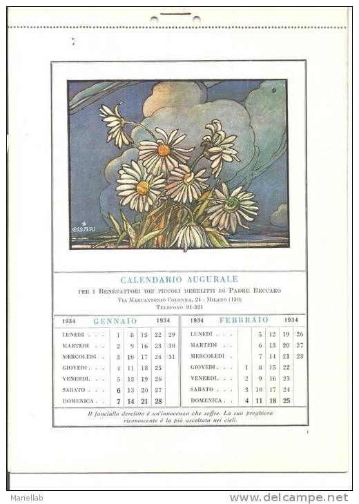 CALENDARIO  AUGURALE DEL PICCOLO DERELITTO 1934,DI PADRE BECCARO -CON STAMPE  DI CISARI-13.M
