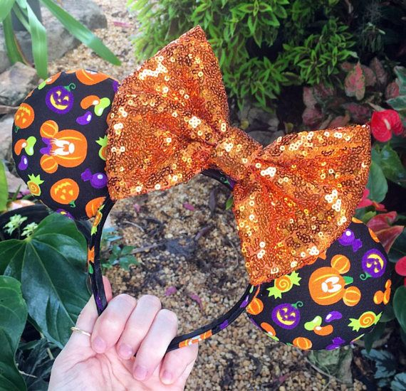 halloween mickey mouse and minnie mouse pumpkin patch disney mouse ears with a orange sequin bow