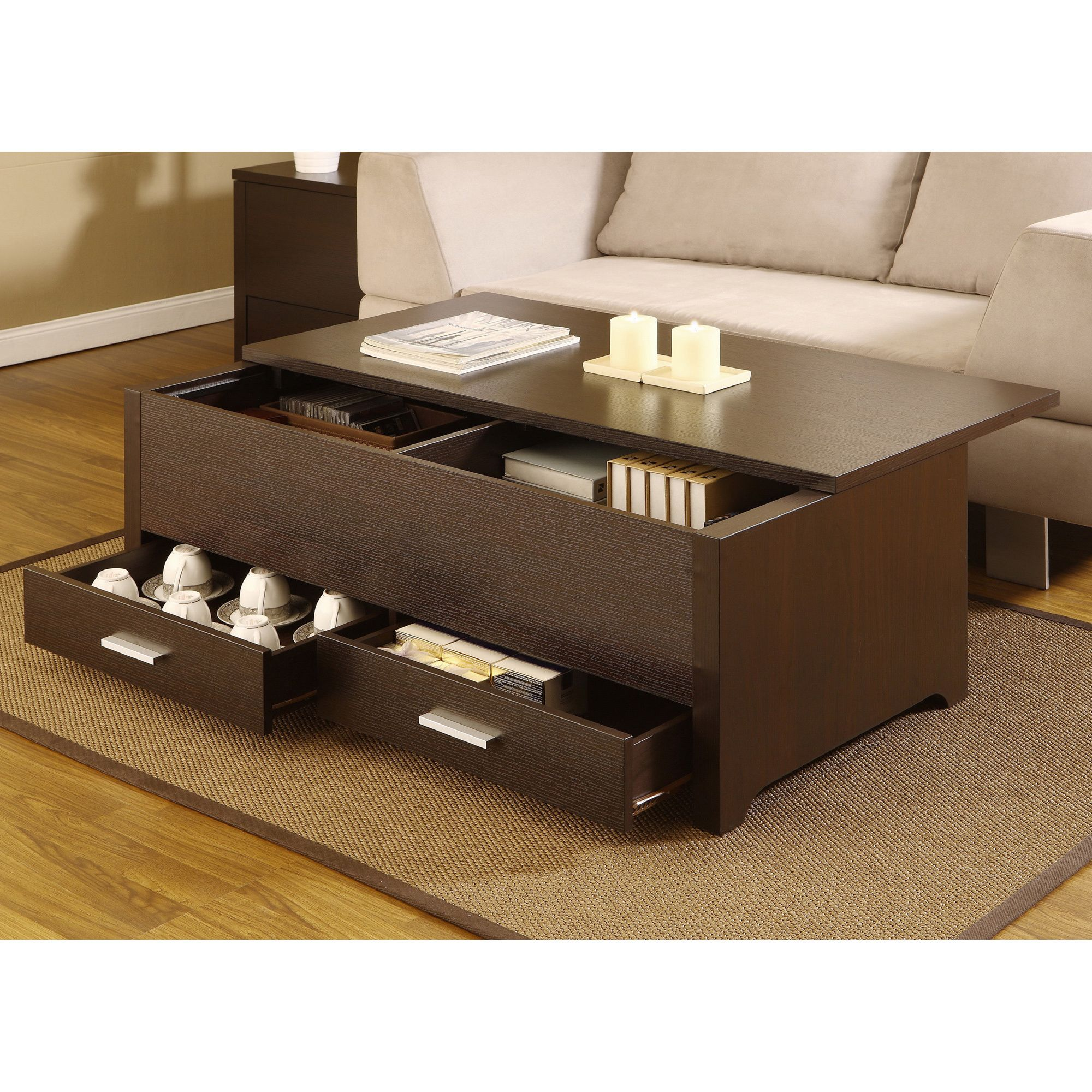 Limaterials wood veneer mdfli lifinish dark espressoli this contemporary storage box table combines plenty of space and a sliding table top panel this dark espresso coffee table has 2 drawers and a sliding top geotapseo Gallery