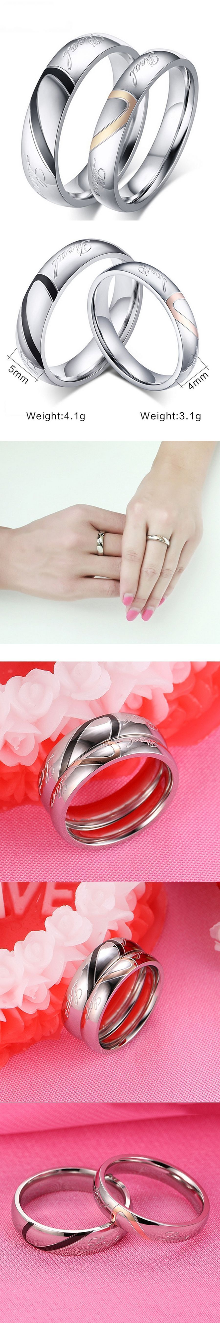 Fashion Love Heart Couple Ring for Women Men With Rings Size 14 ...