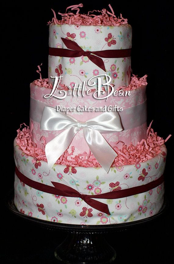 Three Tier Diaper Cake For Baby Girl Perfect For Valentine S Day By