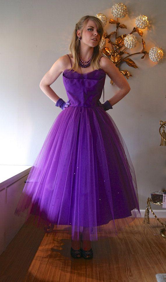 Vintage Prom Dress / 50s Violet Haze Purple Tulle Prom Dress Full ...