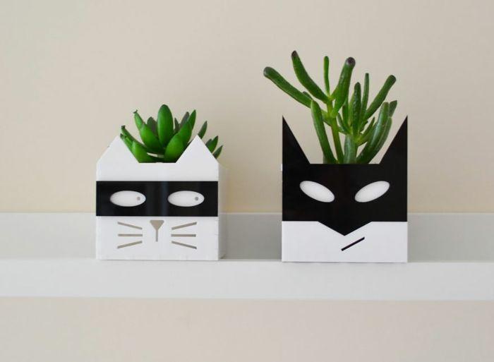 übertöpfe Für Zimmerpflanzen blumenkübel lustige übertöpfe pflanzgefäße katze kater bastel