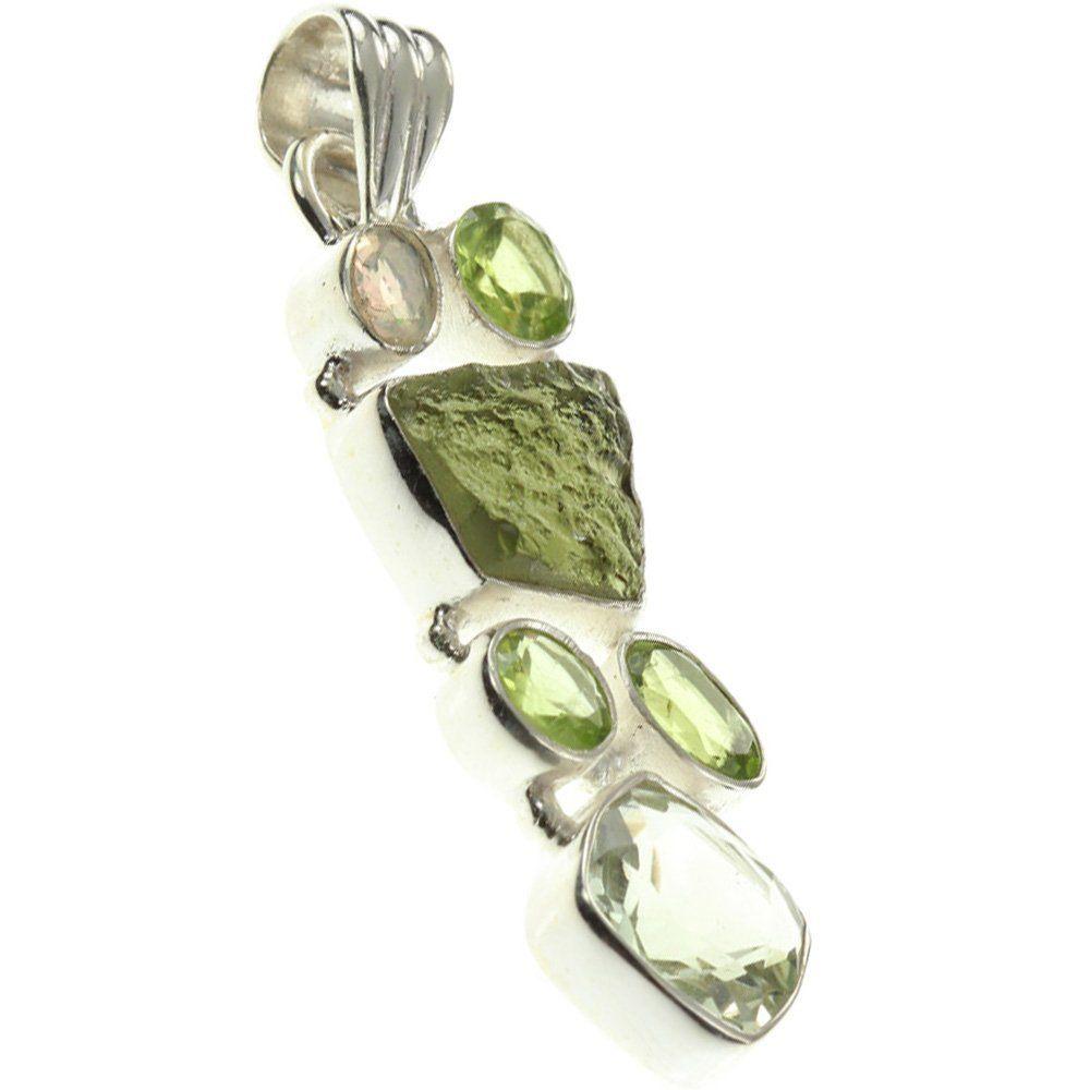 sterling silver moldavite green amethyst peridot pendant