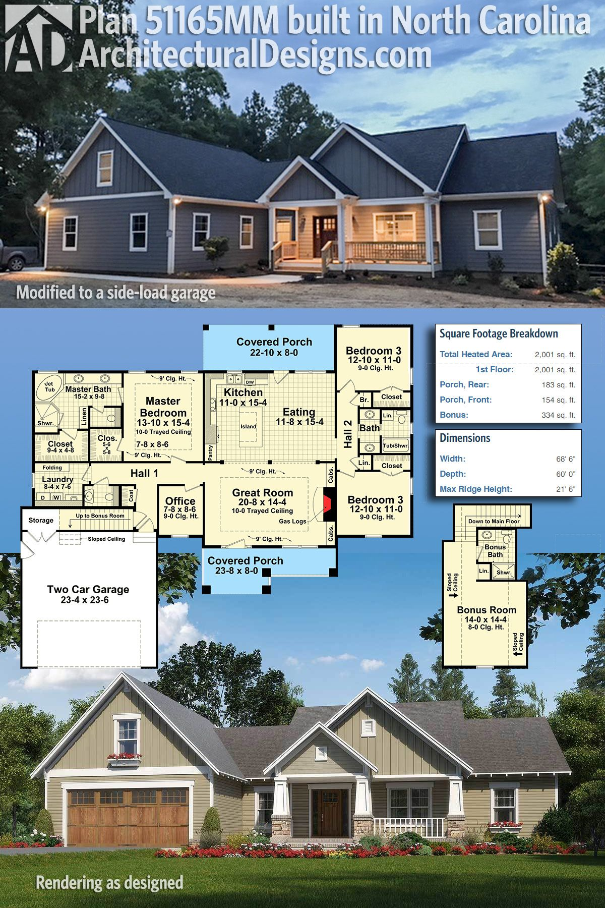 Plan 51165mm Craftsman With Nested Gable Front Craftsman House Plans Dream House Plans Building A House