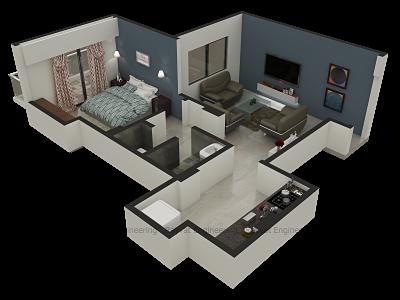 3d Floor Plan Services Architectural 3d Floor Plan Rendering Rectangle House Plans Rendered Floor Plan House Plan Creator