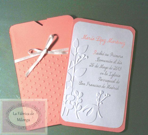 invitaciones de primera comunion para nina hechas a mano