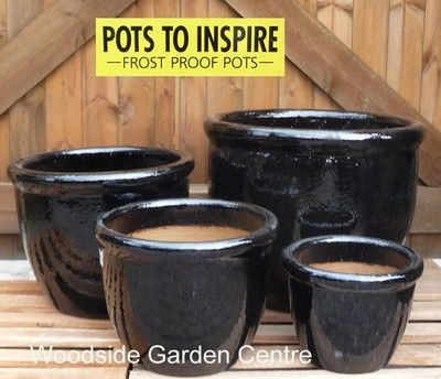 Large Black Glazed Pot Roll Top Planter | Woodside Garden Centre | Pots To  Inspire