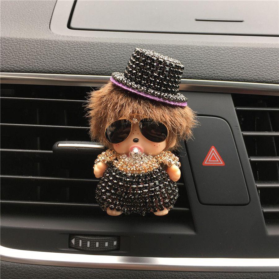 Nuevo patrón Monchhchi outlet Perfume perfume Con un sombrero de sol Kiki puerto de aire del vehículo Car-styling Accesorios Interiores Del Coche