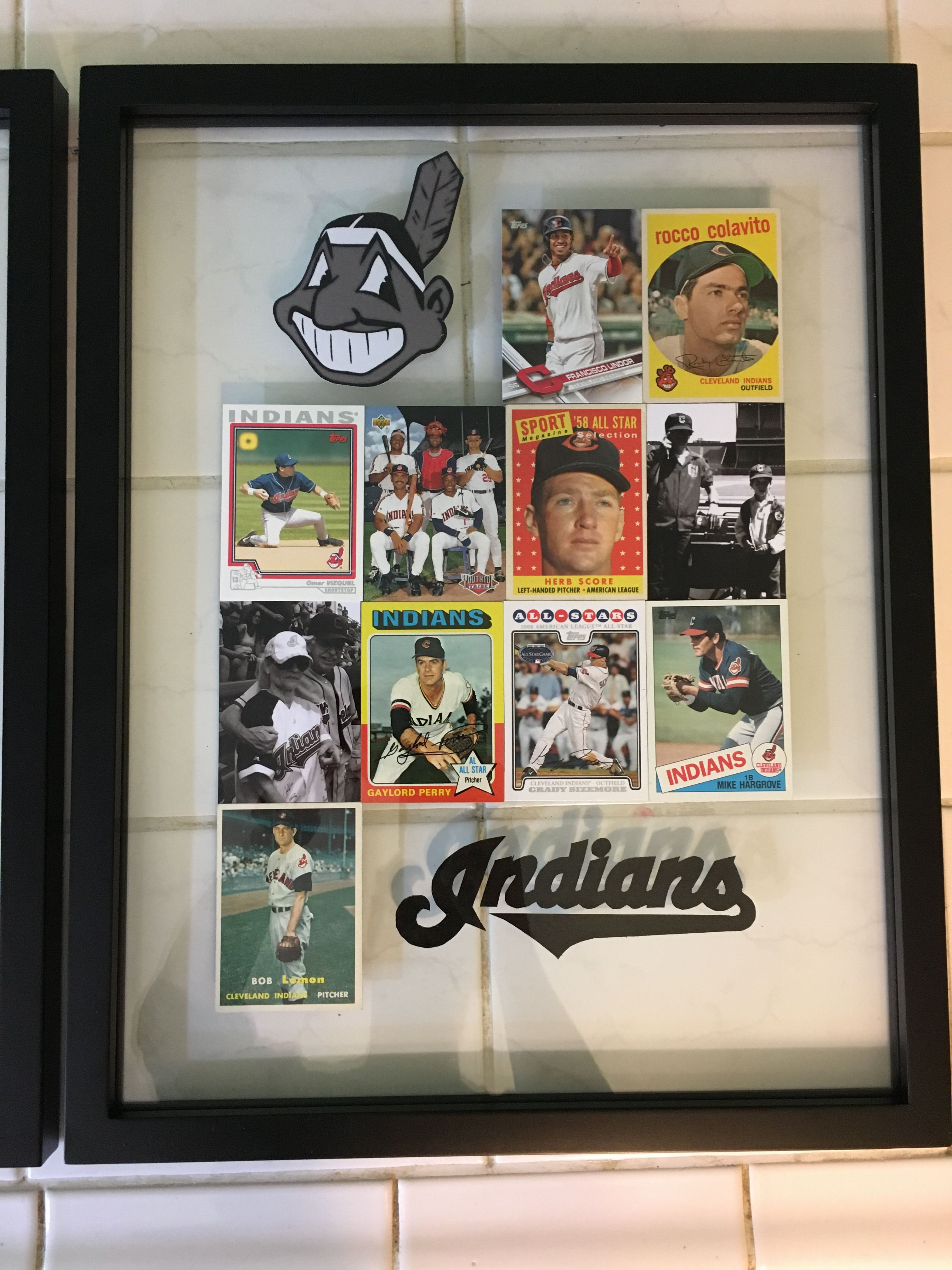 Baseball Card Display With Family Photos In A Float Frame