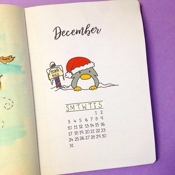 Bullet journal monthly cover page, bullet journal December ...