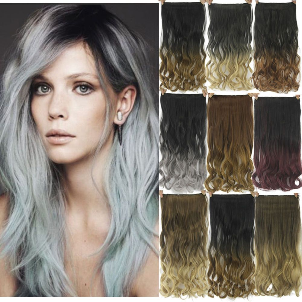 Cw hair g inch two tones ombre curly clip in hair extensions